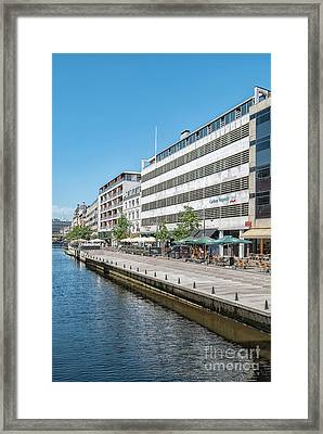Framed Print featuring the photograph Aarhus Canal Scene by Antony McAulay