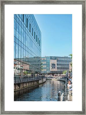 Framed Print featuring the photograph Aarhus Lunchtime Canal Scene by Antony McAulay