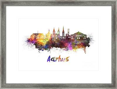 Aarhus Skyline In Watercolor Framed Print