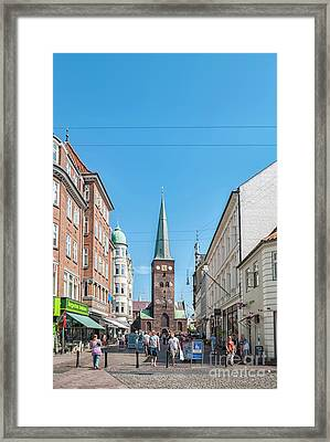 Framed Print featuring the photograph Aarhus Street Scene by Antony McAulay