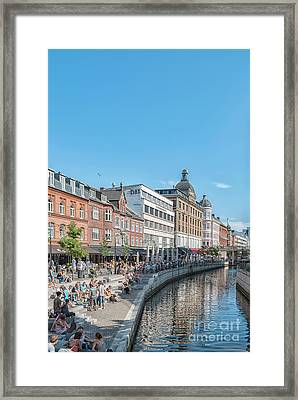 Framed Print featuring the photograph Aarhus Summertime Canal Scene by Antony McAulay