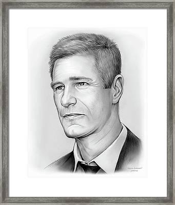 Aaron Eckhart Framed Print by Greg Joens