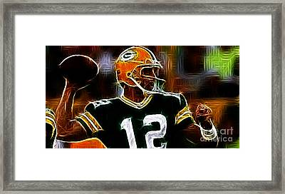 Aaron Rodgers - Green Bay Packers Framed Print by Paul Ward