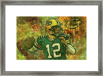 Aaron Rodgers 2 Green Bay Packers Framed Print by Jack Zulli