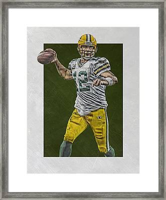 Aaron Rodgers Green Bay Packers Art 4 Framed Print by Joe Hamilton