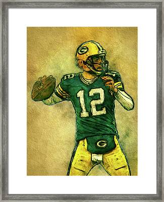 Aaron Rodgers Green Bay Packers Framed Print by Jack Zulli