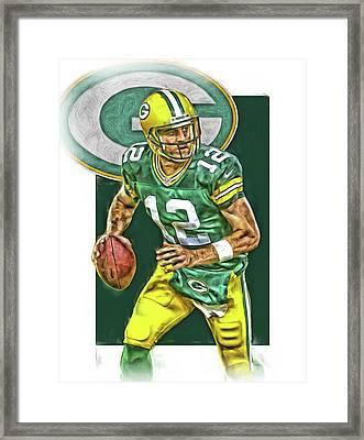 Aaron Rodgers Green Bay Packers Oil Art 2 Framed Print by Joe Hamilton