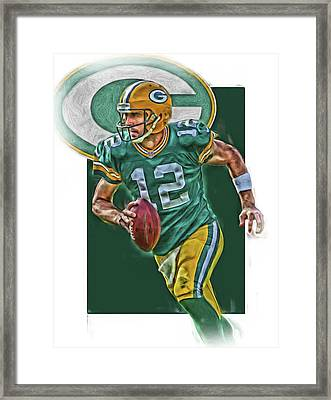 Aaron Rodgers Green Bay Packers Oil Art Framed Print by Joe Hamilton