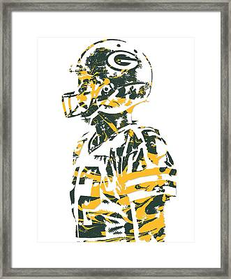 Aaron Rodgers Green Bay Packers Pixel Art 19 Framed Print