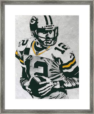 Aaron Rodgers Green Bay Packers Pixel Art 4 Framed Print