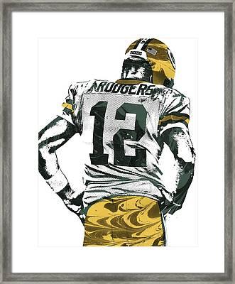 Aaron Rodgers Green Bay Packers Pixel Art 6 Framed Print