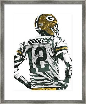 Aaron Rodgers Green Bay Packers Pixel Art 5 Framed Print