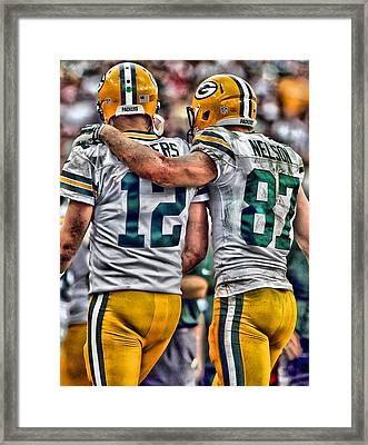 Aaron Rodgers Jordy Nelson Green Bay Packers Art Framed Print by Joe Hamilton