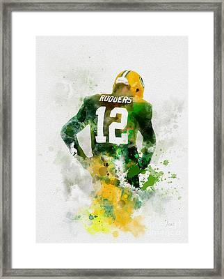 Aaron Rodgers Framed Print by Rebecca Jenkins