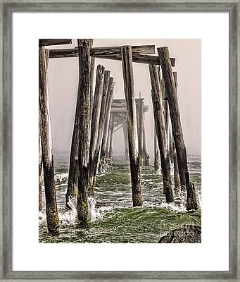 Abandon Pier Thru The Fog Framed Print