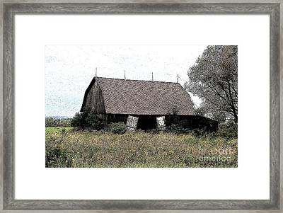 Abandoned Barn In Wny Ink Sketch Effect Framed Print by Rose Santuci-Sofranko