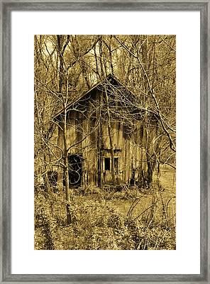 Abandoned Barn In Woods Framed Print