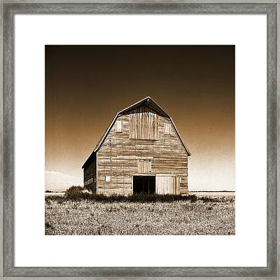 Abandoned Barn Sepia Toned Framed Print