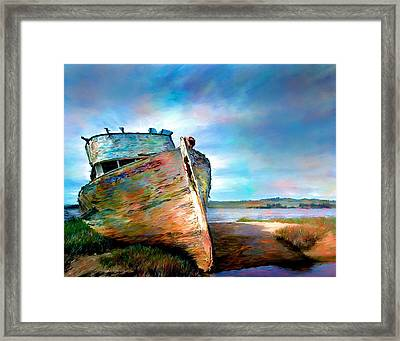 Abandoned Boat Landscape Art Painting Framed Print by Andres Ramos