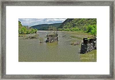 Abandoned Bridge Piers At Harpers Ferry Framed Print