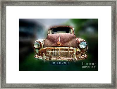 Framed Print featuring the photograph Abandoned Car by Charuhas Images