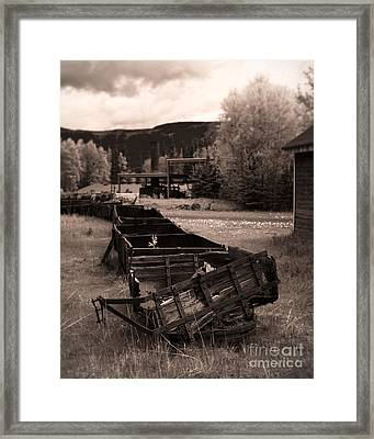 Abandoned Cars And Scattered Nuggets Framed Print