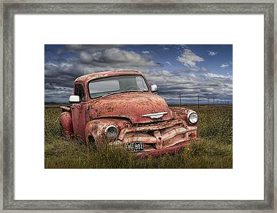 Abandoned Chevy Pickup Truck On The Prairie Framed Print