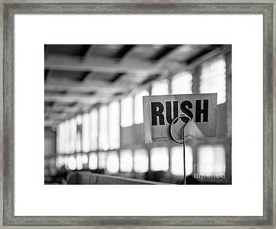 Abandoned Factory, Lewiston, Maine  -48683-bw Framed Print