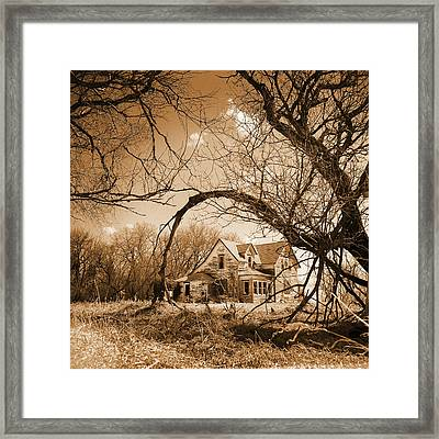 Abandoned Farm House  Sepia Toned Framed Print