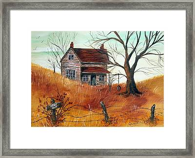 Framed Print featuring the painting Abandoned Farmhouse by Quwatha Valentine