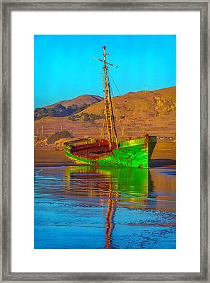 Abandoned Green Boat Framed Print by Garry Gay