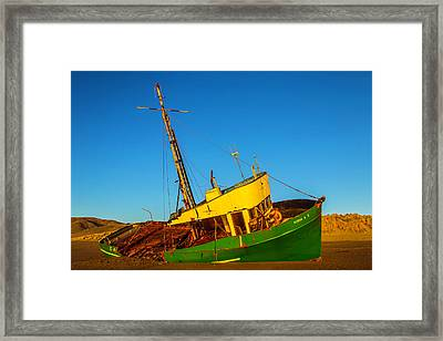 Abandoned Green Fishing Boat Framed Print by Garry Gay
