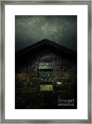Abandoned Horror House With Creepy Attic Window Framed Print
