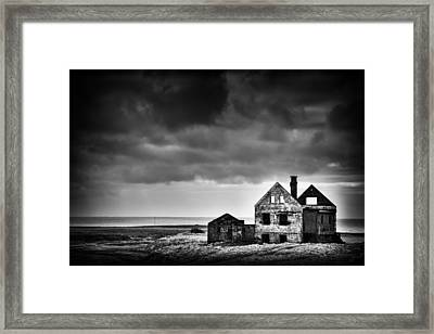 Abandoned House In Iceland Black And White Framed Print
