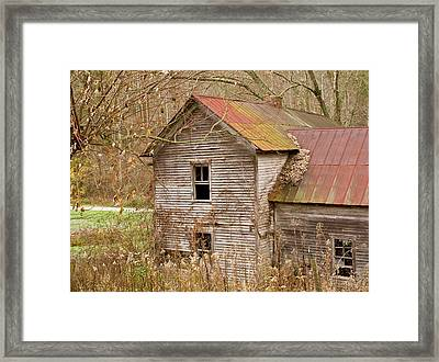 Abandoned House With Colorful Roof Framed Print by Douglas Barnett