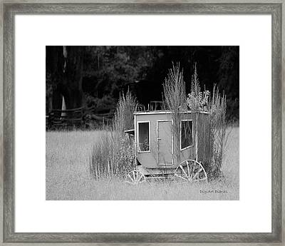 Abandoned In The Field Black And White Framed Print
