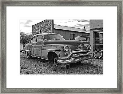 Abandoned Oldsmobile Bw Framed Print