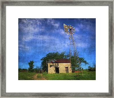 Abandoned Outbuilding And Windmill Framed Print