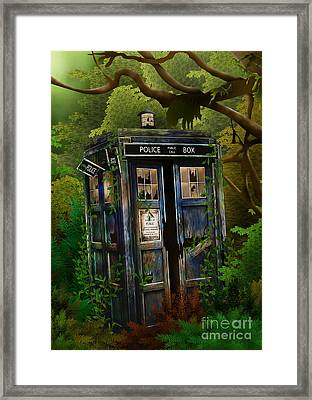 Abandoned Phone Box In Deep Jungle Framed Print