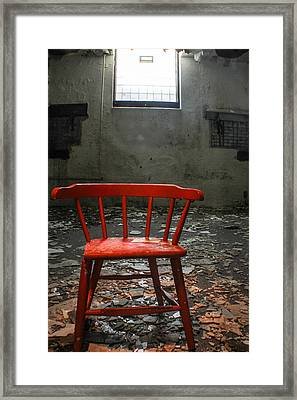 Abandoned Red Chair  Framed Print