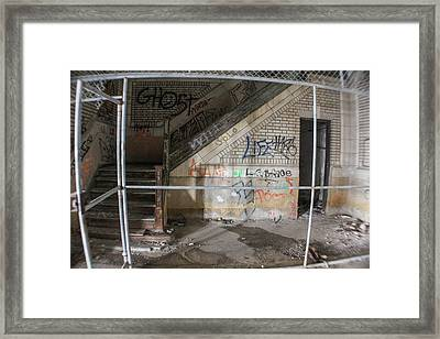Abandoned Stairwell And Cage Framed Print