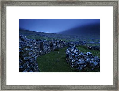 Abandoned Stone-walled Homes At Village Framed Print by Jim Richardson