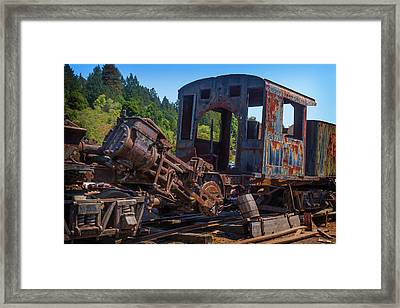 Abandoned Train Engine Framed Print by Garry Gay