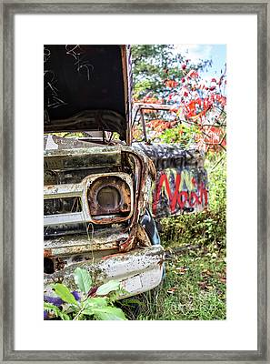 Framed Print featuring the photograph Abandoned Truck With Spray Paint by Edward Fielding