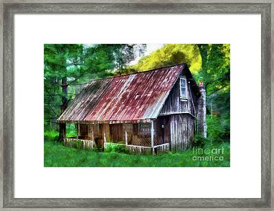 Framed Print featuring the photograph Abandoned Vintage House In The Woods Ap by Dan Carmichael