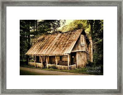 Framed Print featuring the photograph Abandoned Vintage House In The Woods by Dan Carmichael