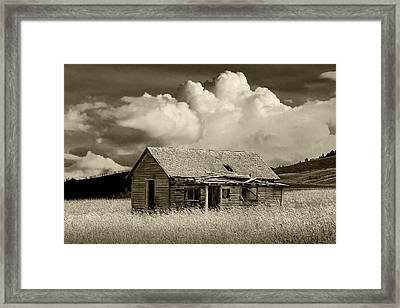 Abandoned Western Farmhouse In Sepia Tone Framed Print