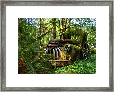 Abandoned In Forest Framed Print