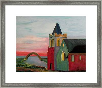 Abbey Near The Bridge Framed Print by Richard Beauregard