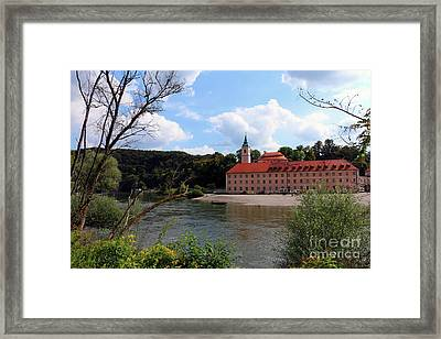 Abbey Weltenburg And Danube River Framed Print by Christiane Schulze Art And Photography